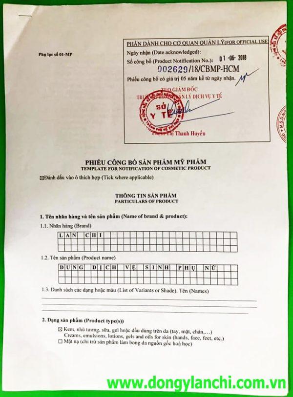 Giấy phép công bố mỹ phẩm dung dịch vệ sinh lan chi