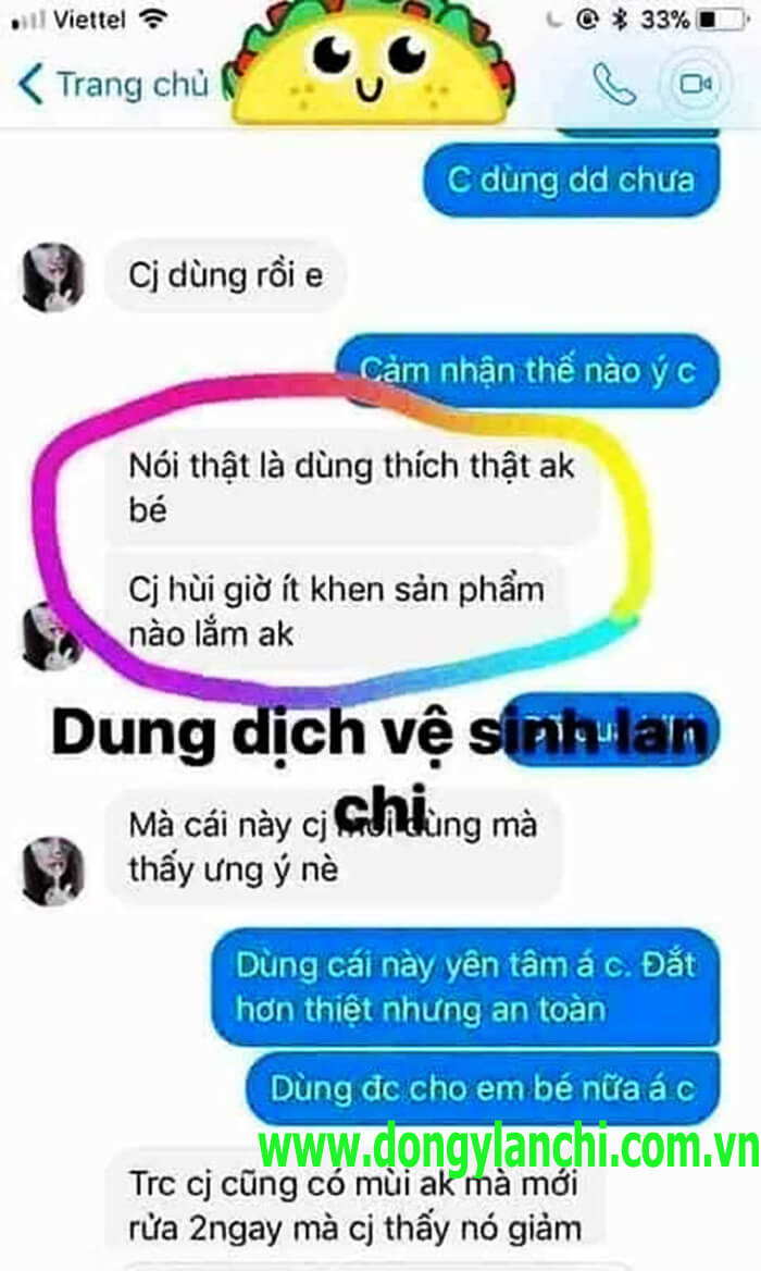 review dung dịch vệ sinh lan chi