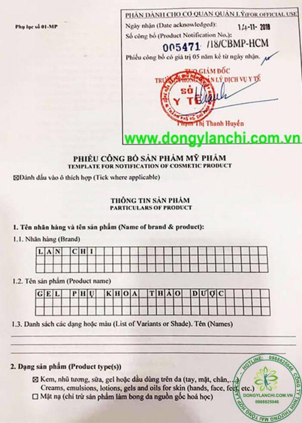 giấy kiểm định chất lượng gel phụ khoa lan chi