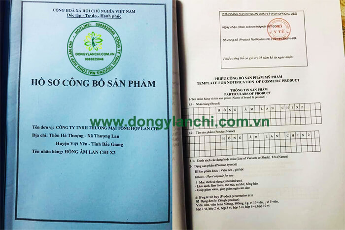 Giấy phép công bố lưu hành sản phẩm do Sở y tế Bắc Giang cấp