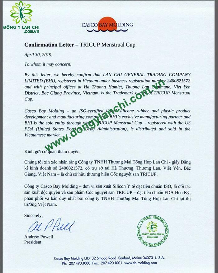 giấy chuyển nhượng thương hiệu cốc nguyệt san tricup