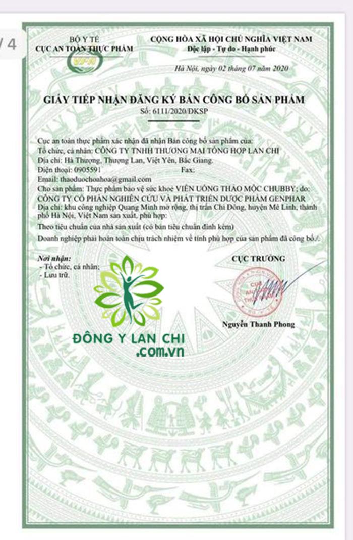 Giấy phép Tăng Cân Lan Chi do Bộ y tế cấp