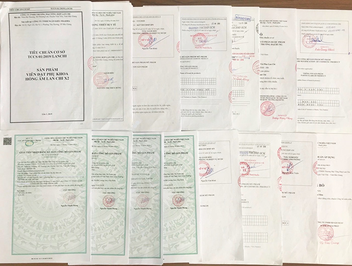 Toàn bộ giấy công bố của các sản phẩm Công ty Lan Chi đang lưu hành trên thị trường.