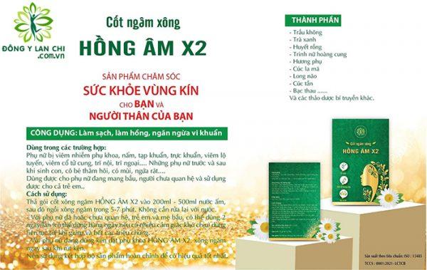Thành phần & Công dụng Hình ảnh Cốt Ngâm Xông Hồng Âm X2 Lan Chi