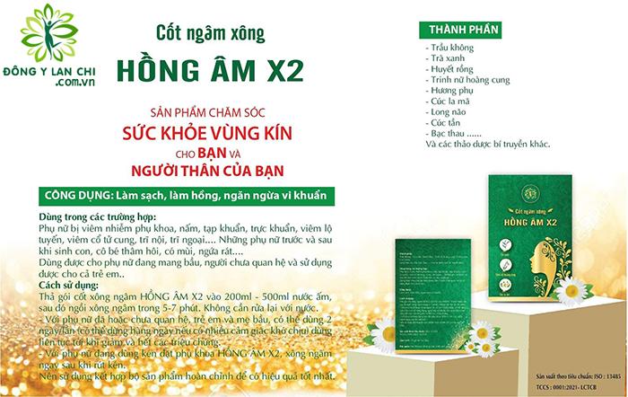 Thành phần & Công dụng Cốt Ngâm Xông Hồng Âm X2 Lan Chi